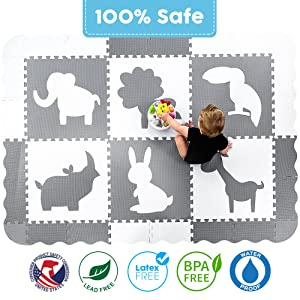 BPA free no phthalates off gassing lead latex formamide free gray foam playmat baby play mat floor