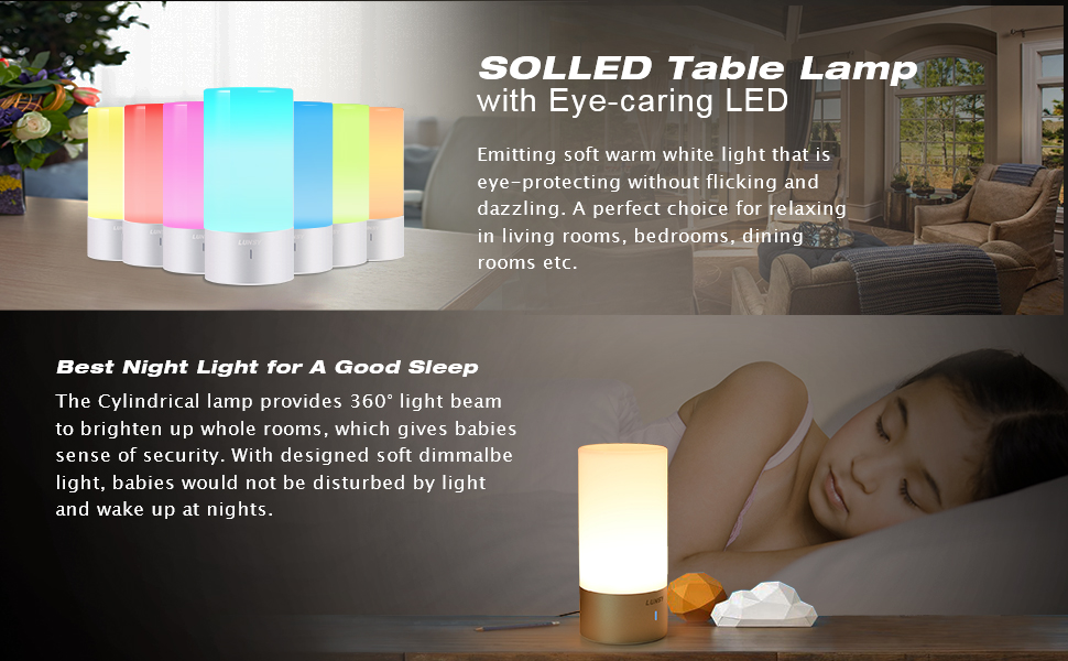 Solled Led Table Lamp Sensor Touch Bedside Lamp Dimmable Warm