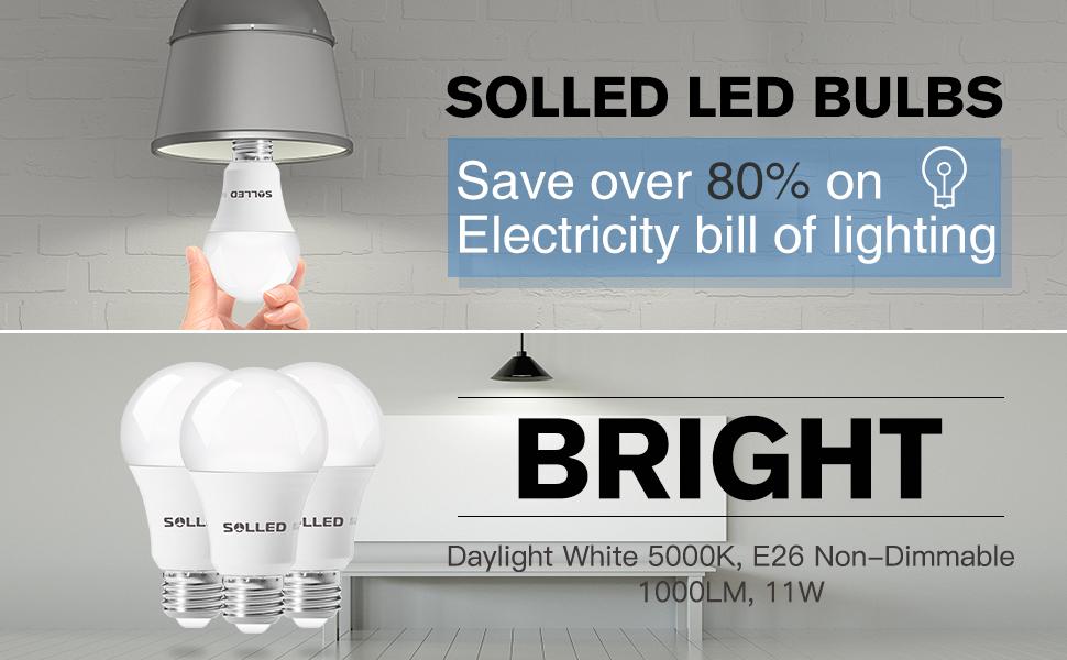 Brightest Led Bulb >> Solled A19 Led Bulb Led Light Bulbs 100w Equivalent 11w Daylight
