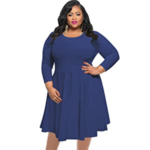 60747adcd22 KSHUN Women s Casual Solid Color 3 4 Sleeves Round Neck Plus Size ...