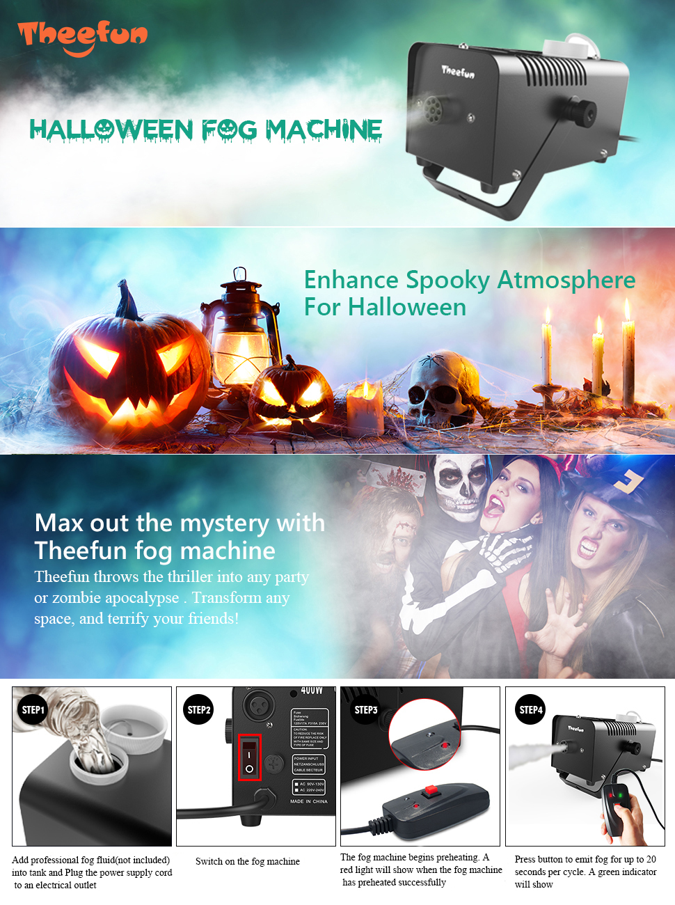 Theefun 400-Watt Portable Halloween and Party Fog Machine with Wired Remote  Control e965d2766b78