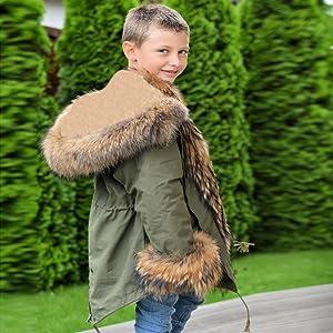 a664c63f8 Amazon.com: Roiii Faux Fur Children Parka Jacket Coats Kids ...