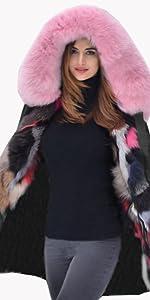 Roiii Thicken Baby Pink Faux Fur Parka Women Bigg Hooded Fishtail Winter Fashion Jacket Overcoat