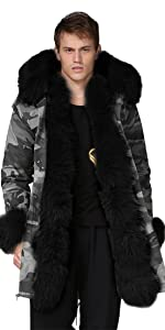 Mens Winter Warm Thick Faux FurLong Trench Jacket Over Coat