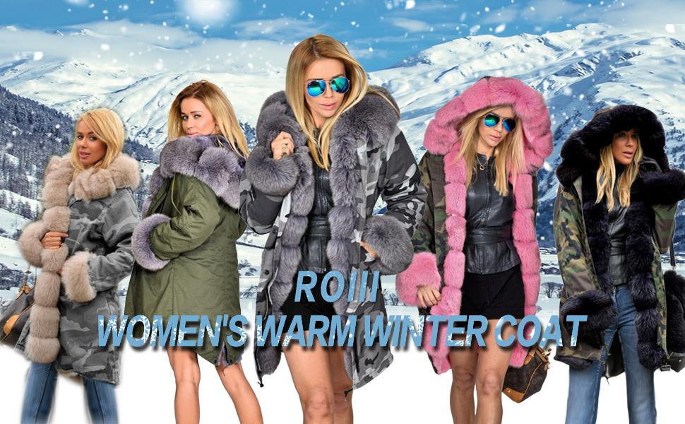 826eb769938 Roiii Women s Winter Thicken Faux Fur Hooded Plus Size Parka Jacket Coat  Size S-3XL. AOIII Jacket Outwear
