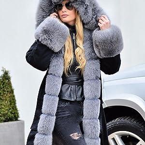 Roiii Women Winter Warm Thick Faux Fur Coat Outdoor Hood Parka Long Jacket Size 8-18