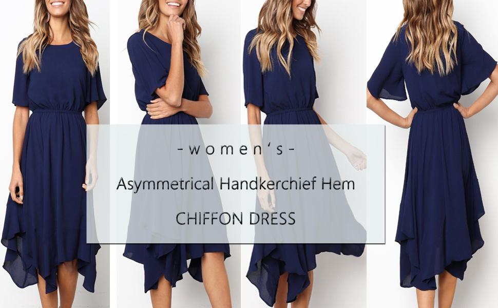 4943490d600a Bolomi Womens Asymmetrical Handkerchief Dress Irregular Hem Short Sleeve  Midi Dress