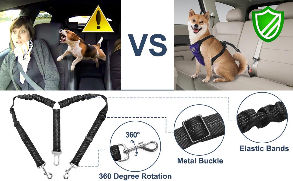 Dual Pet Vehicle Safety Seat Belt Adjustable Double Dog Coupler Lead Splitter Elastic Bungee Reflective Stripe Two Pets Car Trip Travel Slowton Double Dog Car Seatbelt