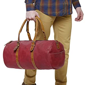 premium quality genuine leather duffel travel gym sports carry on travel luggage men women