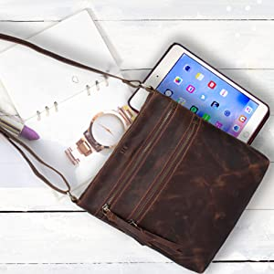 Leather Sturdy Leather Ipad Messenger Satchel Bags Crossbody Cross Body Shoulder Purse Pocket Travel