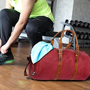 Leather Duffel gym sports bags shoulder crossbody travel business women man carry on