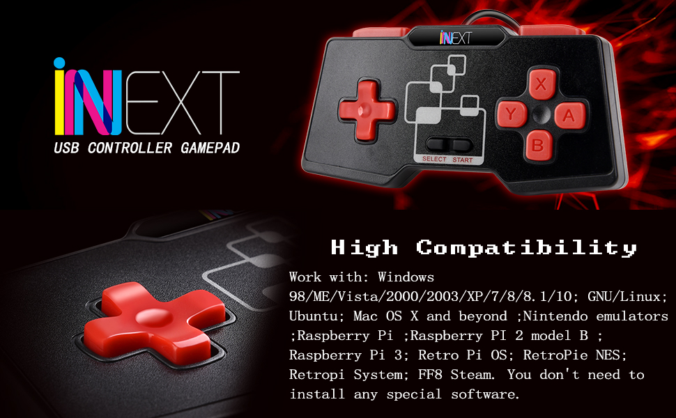 [Newest Version] iNNEXT SNES USB Controller Gamepad Windows PC MAC  Raspberry Pi (Pack of 2)