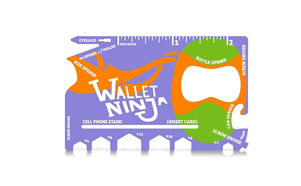 Wallet Ninja 18 in 1 Credit Card Multi-Tool: (Baby Blue, Snow White, Mutant Purple) Eyeglass Screwdriver, Hex Wrenches, Bottle Opener, Phone Stand, ...