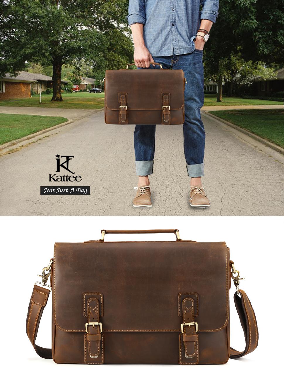 limited guantity 50% price super service Kattee Men's Vintage Genuine Leather Briefcase Messenger Bag, Fit 14