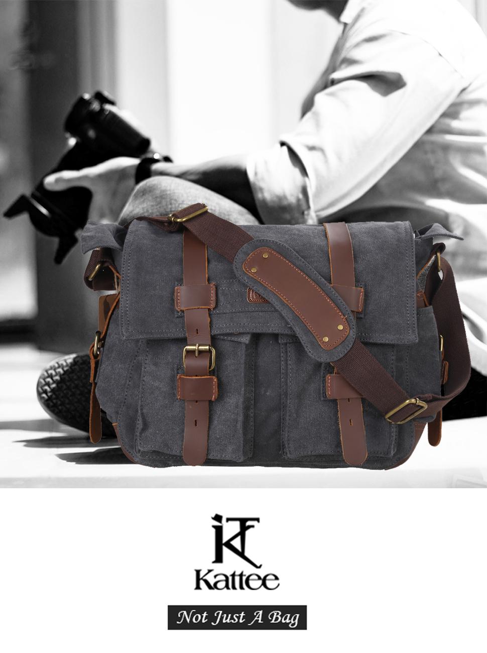 97b59a773 Kattee Men's Canvas Leather DSLR SLR Vintage Camera Messenger Bag