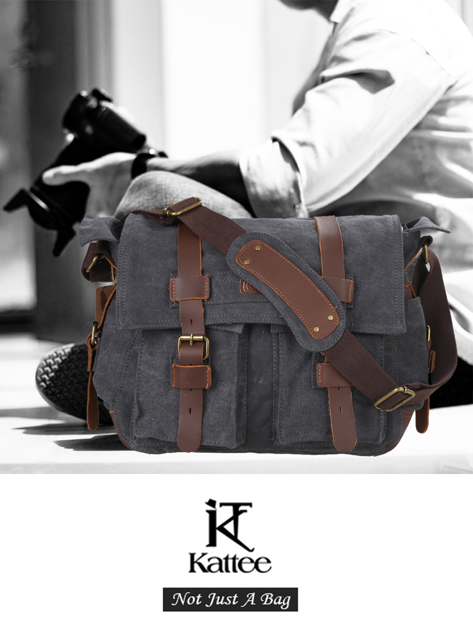 4dfee317559d Amazon.com  Kattee Leather Canvas Camera Bag Vintage DSLR SLR ...