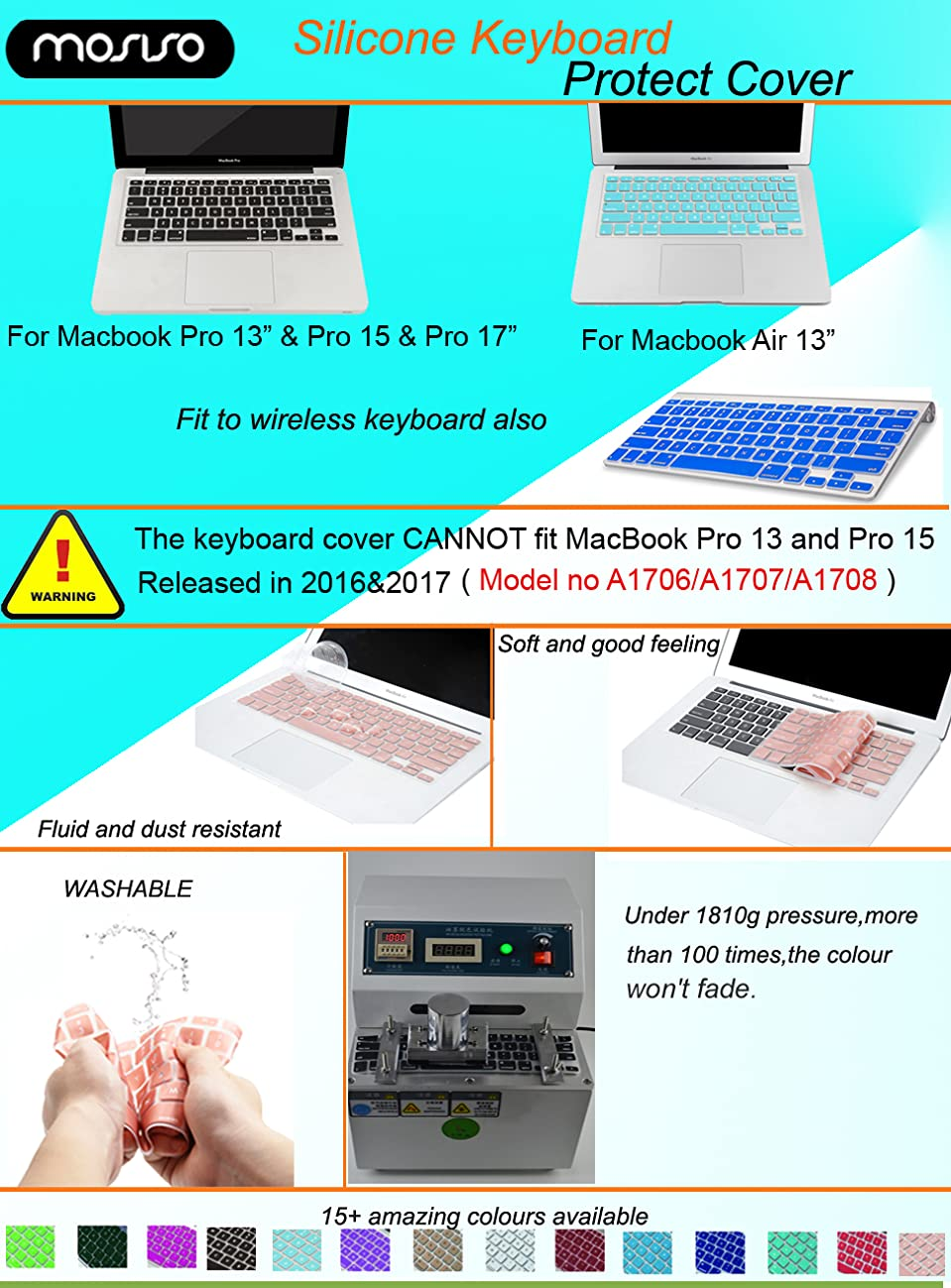MOSISO Silicone Keyboard Cover Compatible MacBook Pro 13/15 Inch  (with/Without Retina Display, 2015 or Older Version), Older MacBook Air 13  Inch