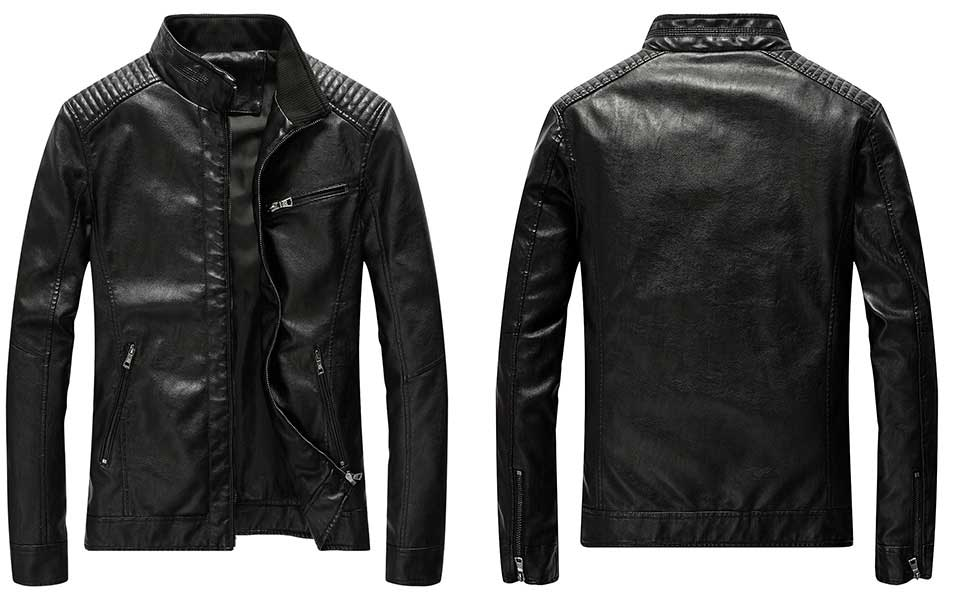 Hot guy in leather jacket whacking off