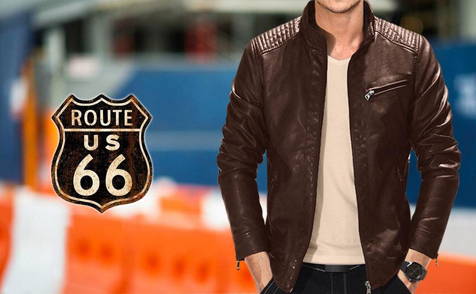 300bc4645 Fairylinks Leather Jacket Men Lightweight Bomber Jackets and Coats