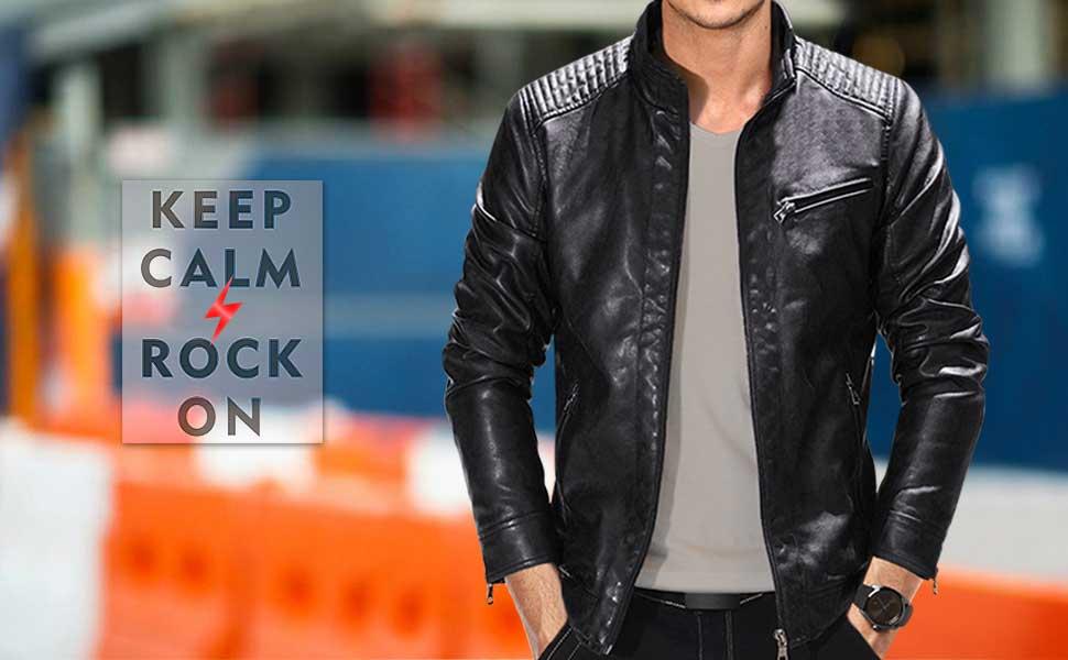 3e131ec23c8 Fairylinks Leather Jacket Men Black Slim Fit Motorcyle Lightweight ...