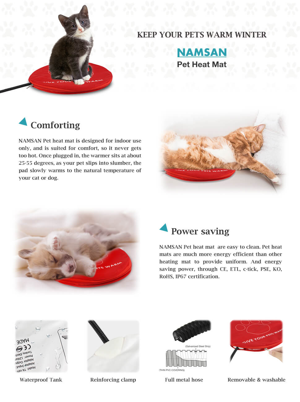 Amazon namsan warmer pet heat mat safety indoor cat dog product description xflitez Image collections