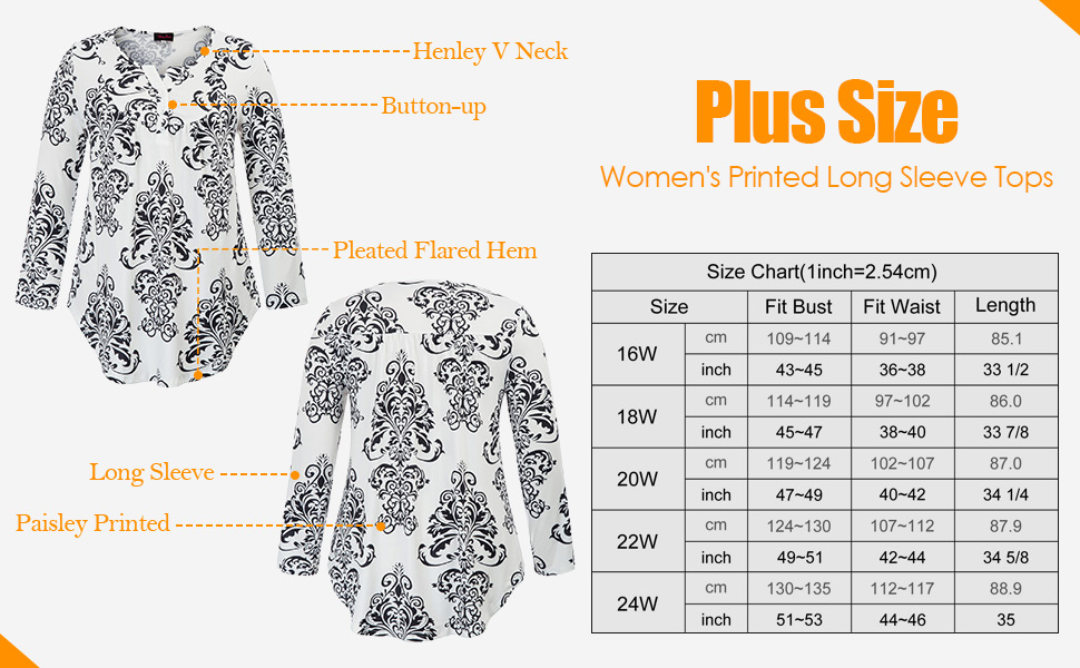 004032367d4 Hanna Nikole Women s Plus Size Paisley Printed Long Sleeve Henley V Neck  Pleated Casual Flare Tunic Blouse Shirt