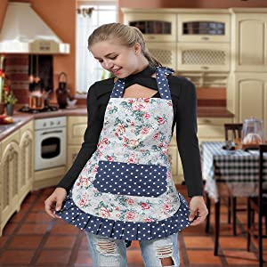 Angeka Cotton Canvas Flirty Womens Apron With Big Pocket In Front Used For Home Baking or Kitchen Cooking Black Style-1