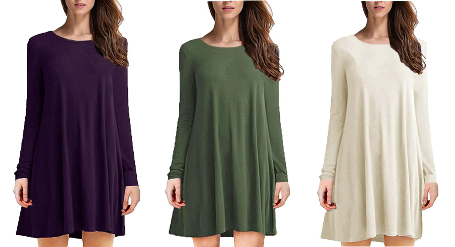 54c9f8d3c9 Tooklanet Women s Long Sleeve O-Neck Casual Loose T-Shirt Dress by ...