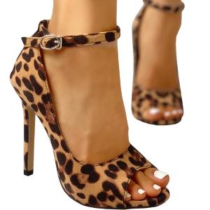 Womens Leopard Stiletto Sandal Heels