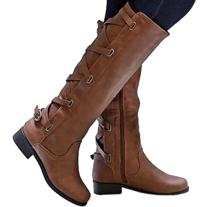 Womens Lace Up Strappy Knee High Boots