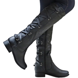 d2e82124165e Womens Lace Up Strappy Knee High Boots