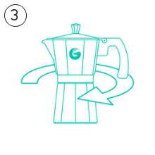 Coffee Gator Stovetop espresso moka brewing guide step 3