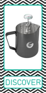 Coffee Gator milk frothing pitcher with thermometer