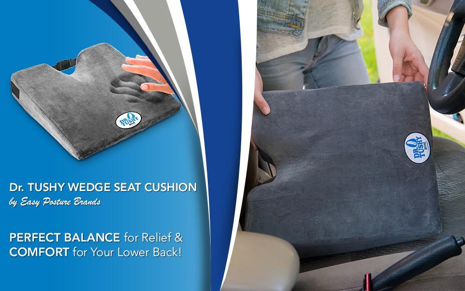 Dr. Tushy Wedge Seat Cushion, 100% Memory Foam, 3 Inch Thick Car Cushion, Coccyx Cushion Design for Lower Back Pain, Sciatica, Leg & Hip Pain Relief ...