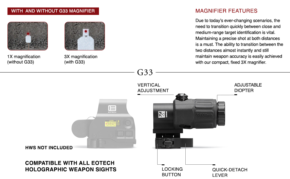 EOTECH G33 HWS holographic weapon sight magnifier shooting accessory attachment range reticle view