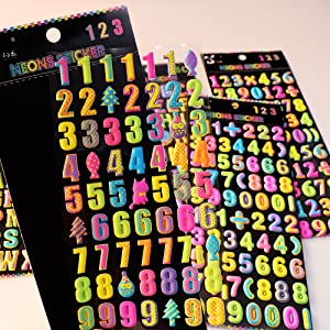 3D Puffy Stickers 6 Sheets Colorful Letter Alphabet Number