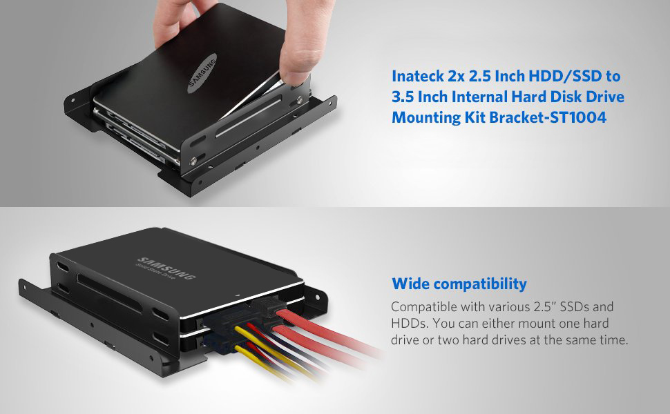 Inateck SSD Mounting Bracket 2 5 to 3 5 with SATA Cable and Power Splitter  Cable, ST1004