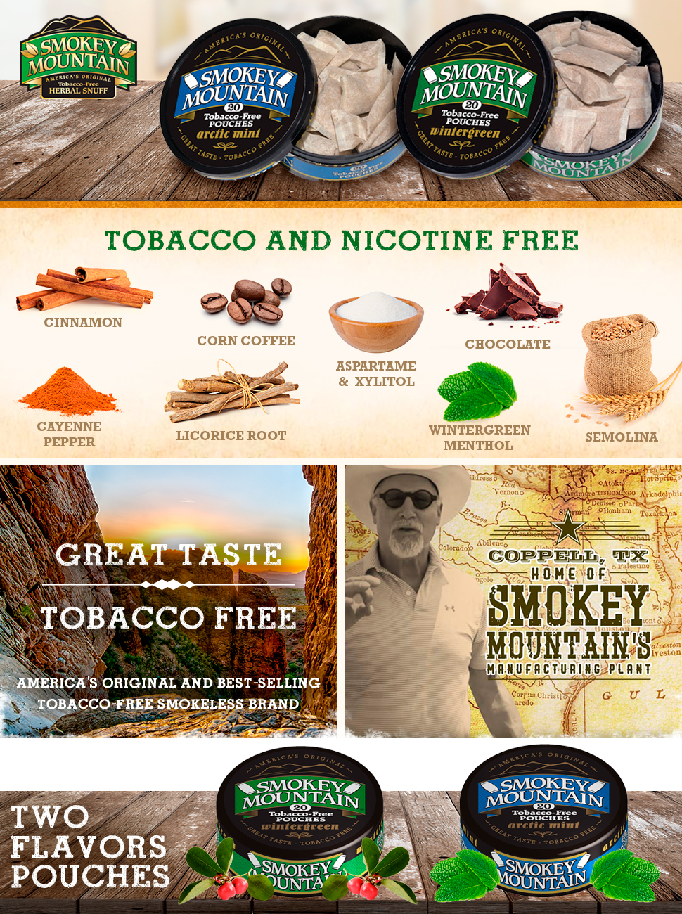 Smokey Mountain Herbal Snuff Pouches - Arctic Mint - 10-Can Box -  Nicotine-Free and Tobacco -