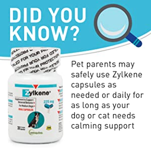 Zylkene Safe Natural Calming Milk Protein Nutritional Supplement Stress Dogs Cats