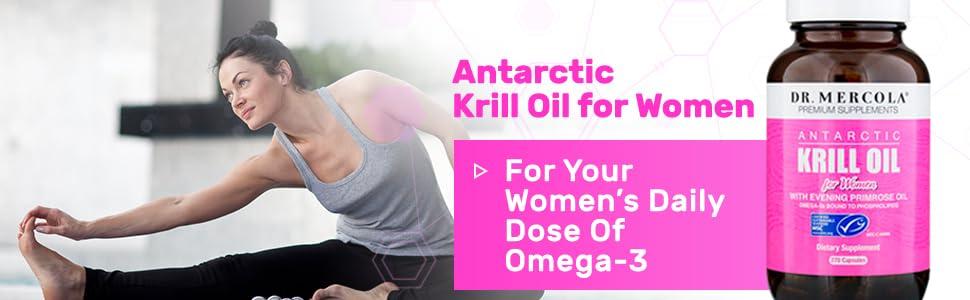 women stretching krill oil bottle