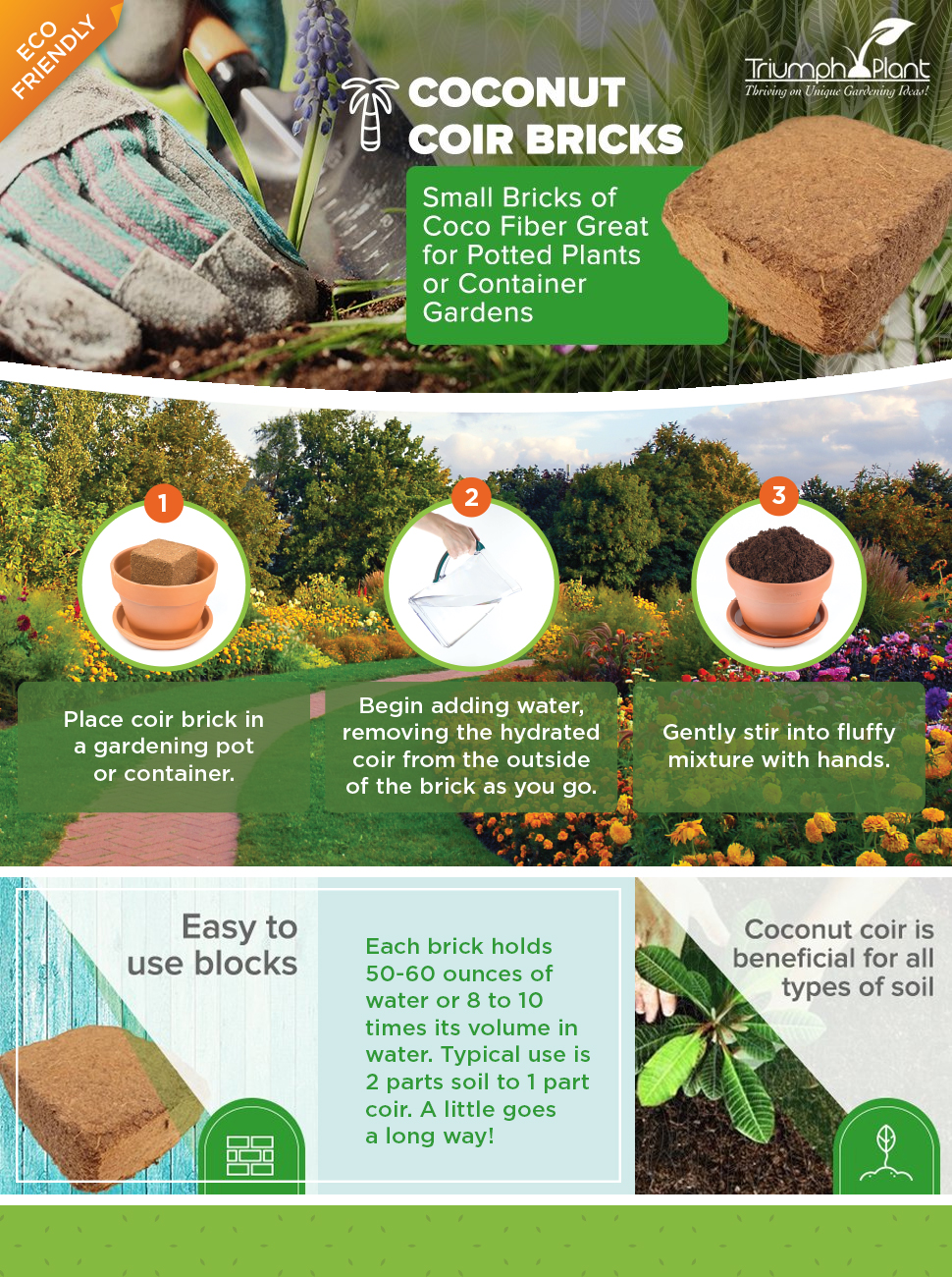 ADD TRIUMPH PLANT COCO COIR BRICKS TO YOUR GARDEN