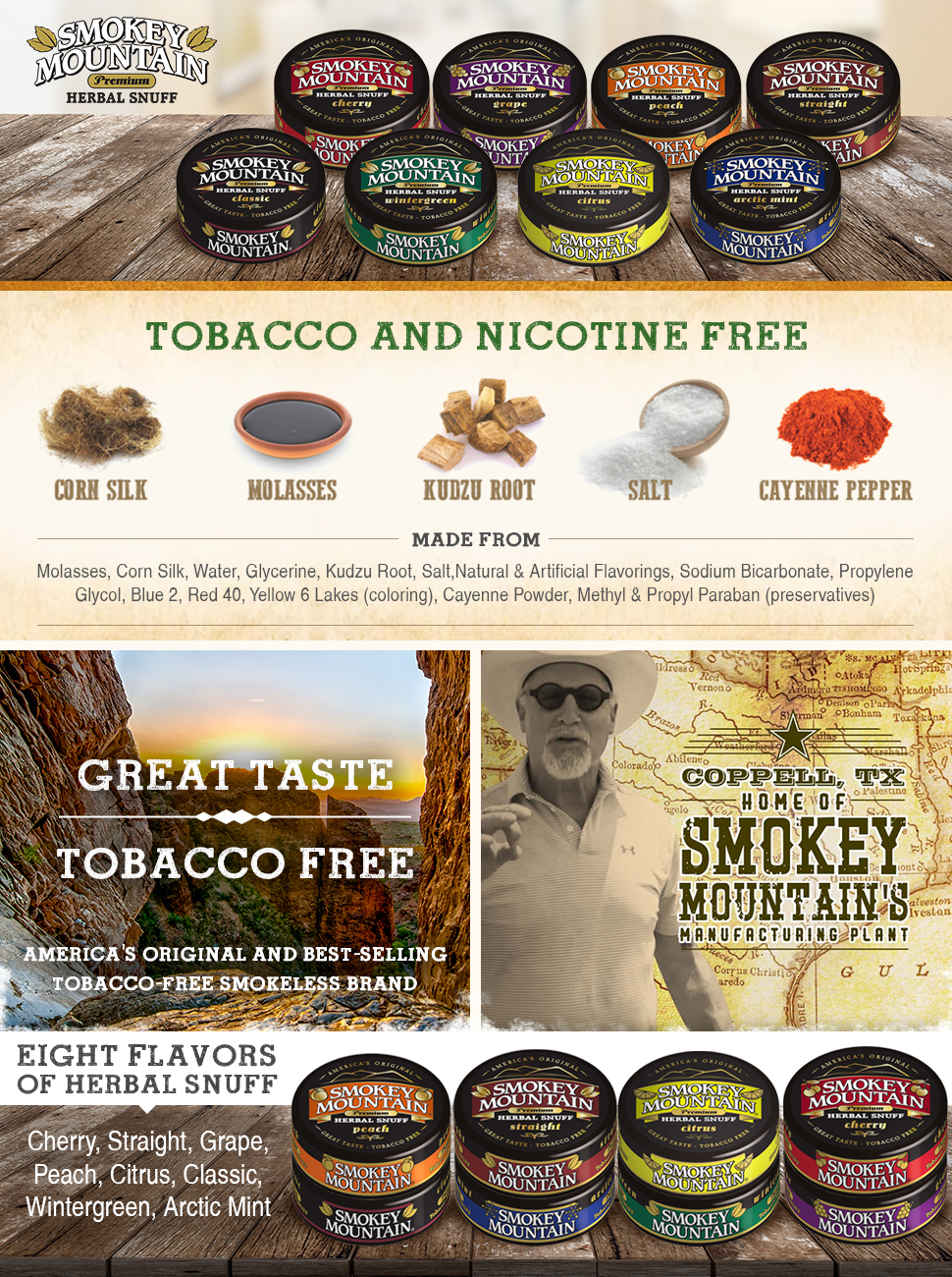 Smokey Mountain Herbal Snuff - Arctic Mint - 10-Can Box - Nicotine-Free and  Tobacco-Free - Herbal