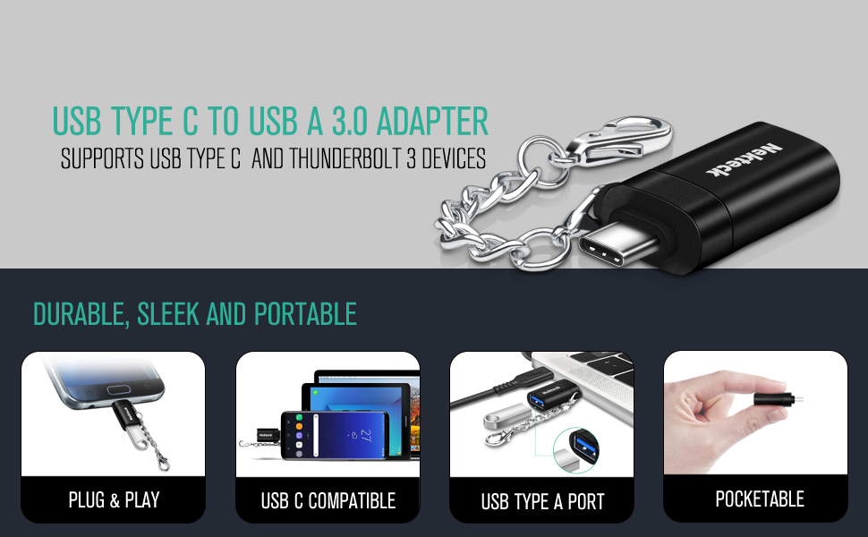 Thunderbolt 3 Adapter Compatible MacBook Pro Galaxy S9// S9 Plus// S8// Note 8 Nekteck USB C to USB A Adapter USB C to A 3.0 with Keychain,USB C Converter Compatible with Pixel 2// XL//Pixelbook