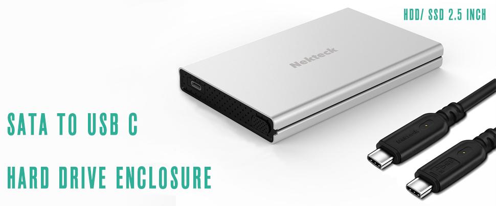 Amazon.com: nekteck adaptador SATA a USB C Enclosure (Gen 1 ...