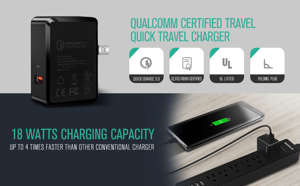 Qualcomm Certified Ul Listed Nekteck 18w Quick Charge 3 0