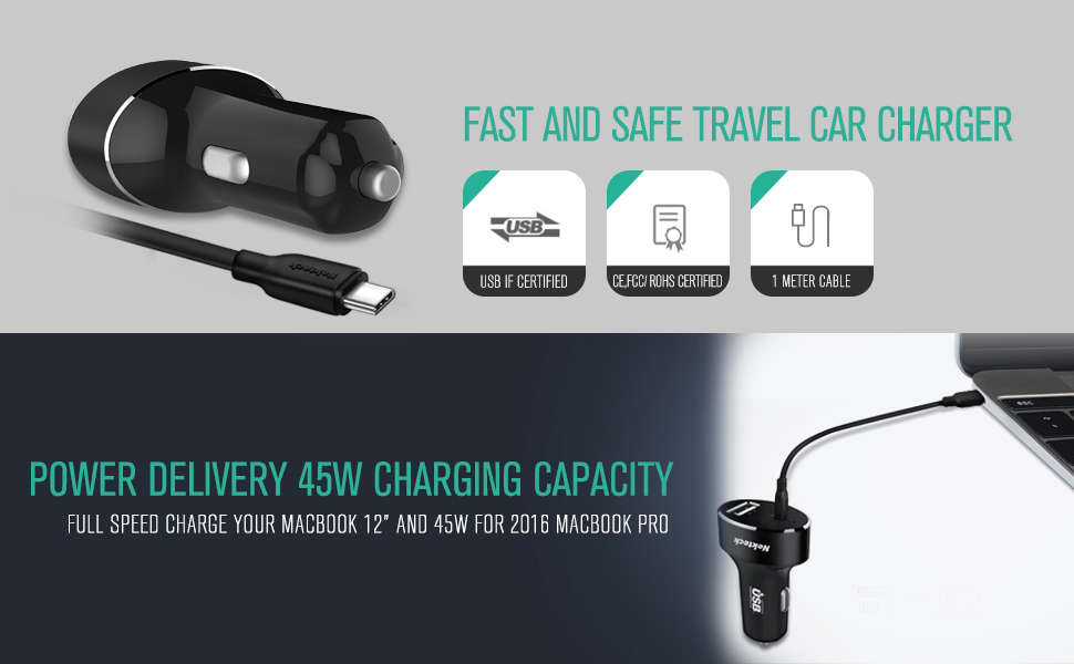 usb c car charger with 45W power delivery