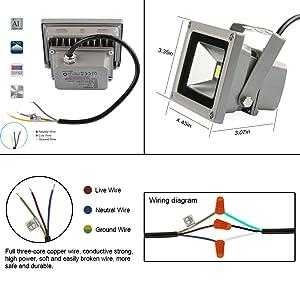 Amazoncom LEDMO W Warm White LED Flood Light Outdoor Floodlight - Led flood light wiring diagram