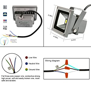 amazon com ledmo 10w warm white led flood light outdoor floodlight rh amazon com 5 Pin Relay Wiring Diagram 5 Post Relay Wiring Diagram