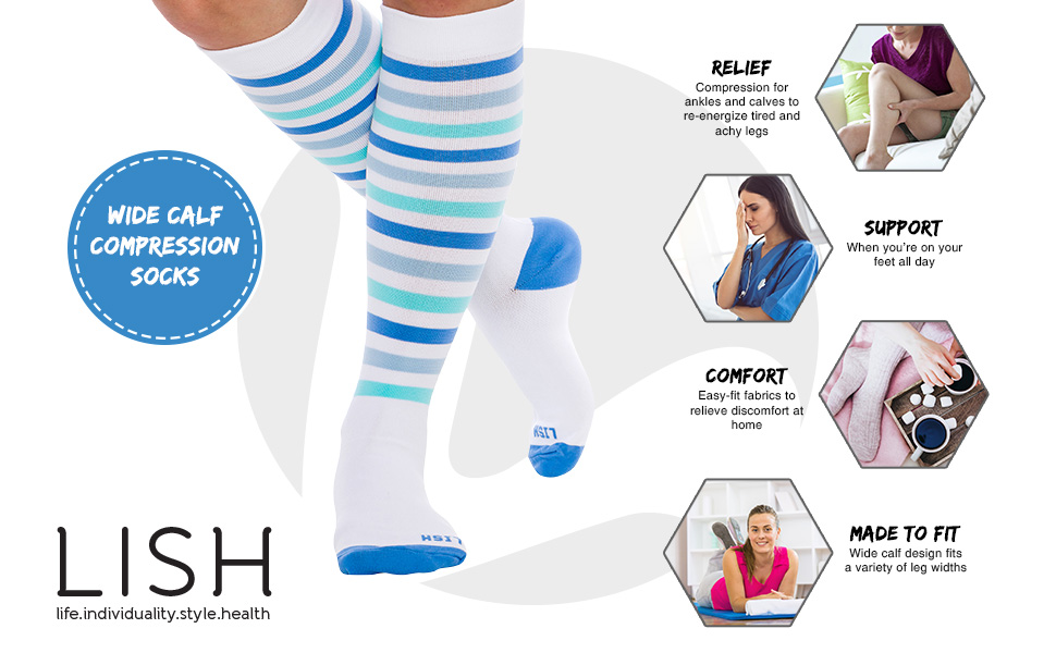 9ddbc4f43b2 Amazon.com  LISH Women s True Stripes Wide Calf Compression Socks ...