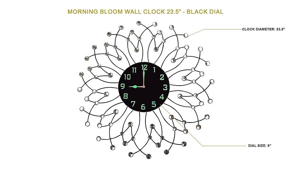 Amazon lulu decor morning bloom metal wall clock 235 black lulu decor morning bloom wall clock 235 black dial ccuart Choice Image